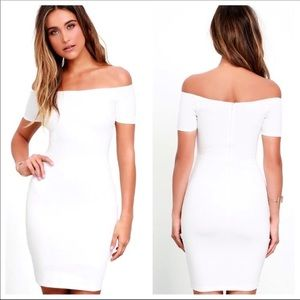 Lulu's Me Oh My White Off Shoulder Bodycon Dress
